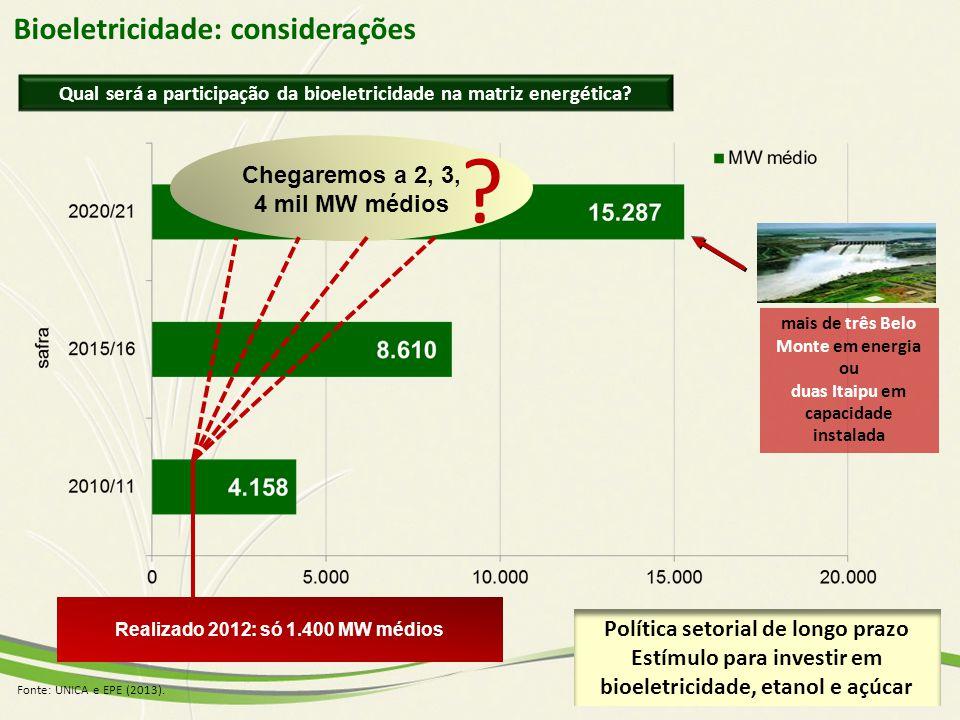 Bioeletricidade: considerações Chegaremos a 2, 3, 4 mil MW médios