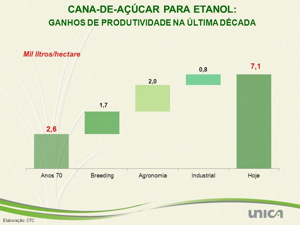 CANA-DE-AÇÚCAR PARA ETANOL: GANHOS DE PRODUTIVIDADE NA ÚLTIMA DÉCADA