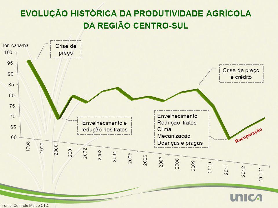 EVOLUÇÃO HISTÓRICA DA PRODUTIVIDADE AGRÍCOLA DA REGIÃO CENTRO-SUL