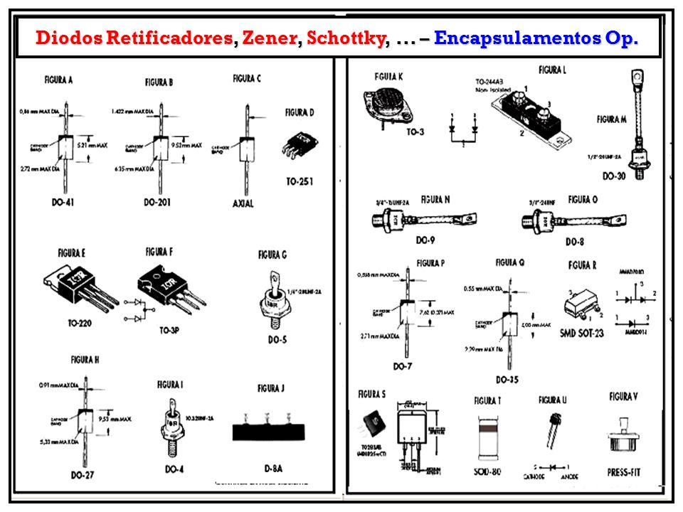 Diodos Retificadores, Zener, Schottky, ... – Encapsulamentos Op.