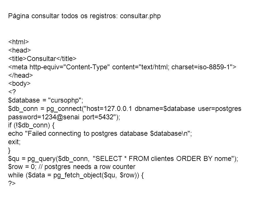 Página consultar todos os registros: consultar.php