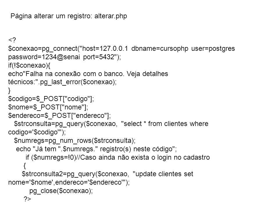 Página alterar um registro: alterar.php