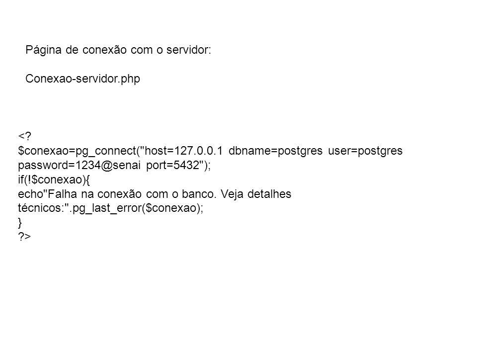 Página de conexão com o servidor: