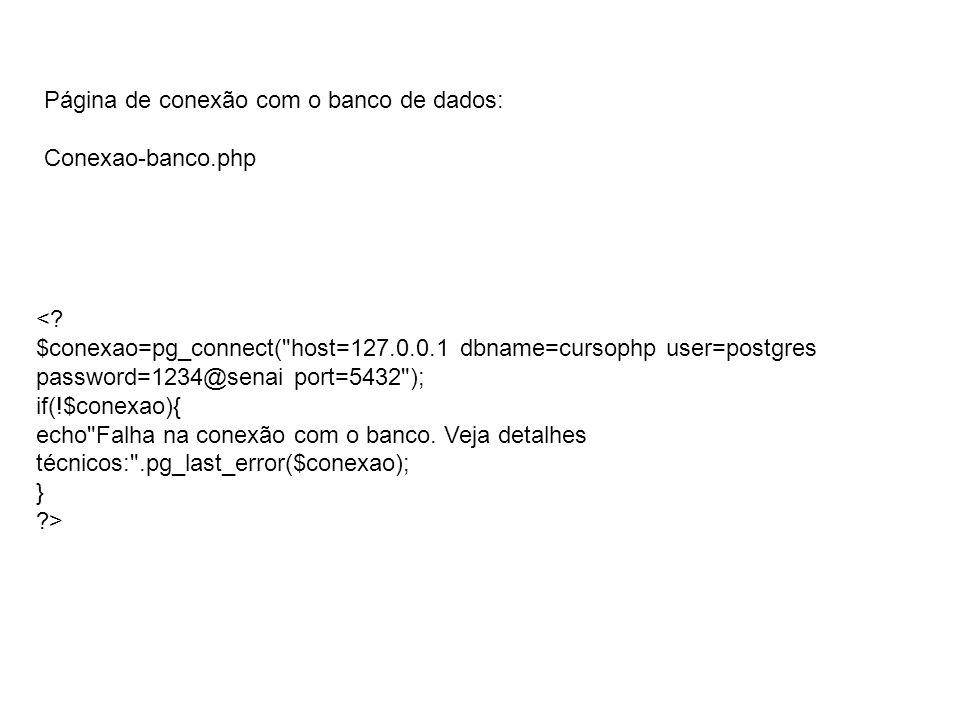 Página de conexão com o banco de dados: