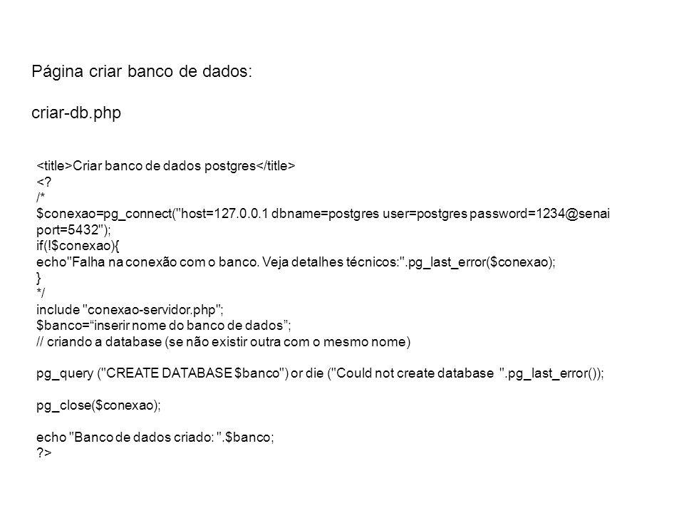 Página criar banco de dados: criar-db.php