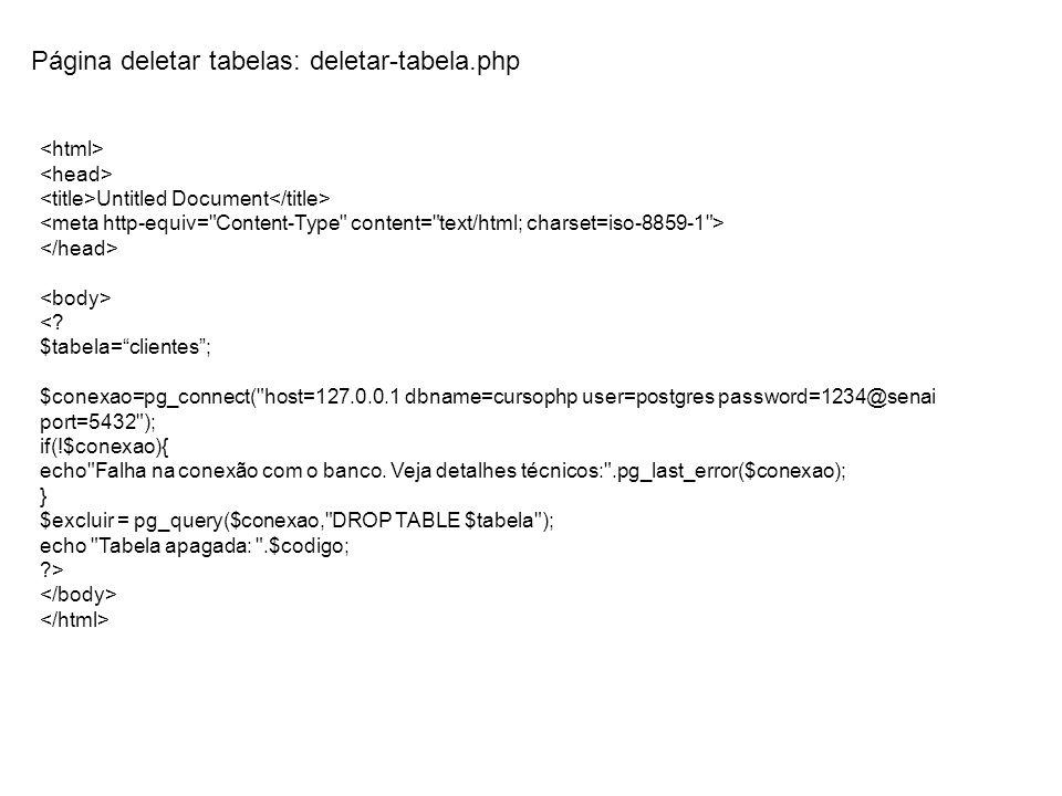 Página deletar tabelas: deletar-tabela.php