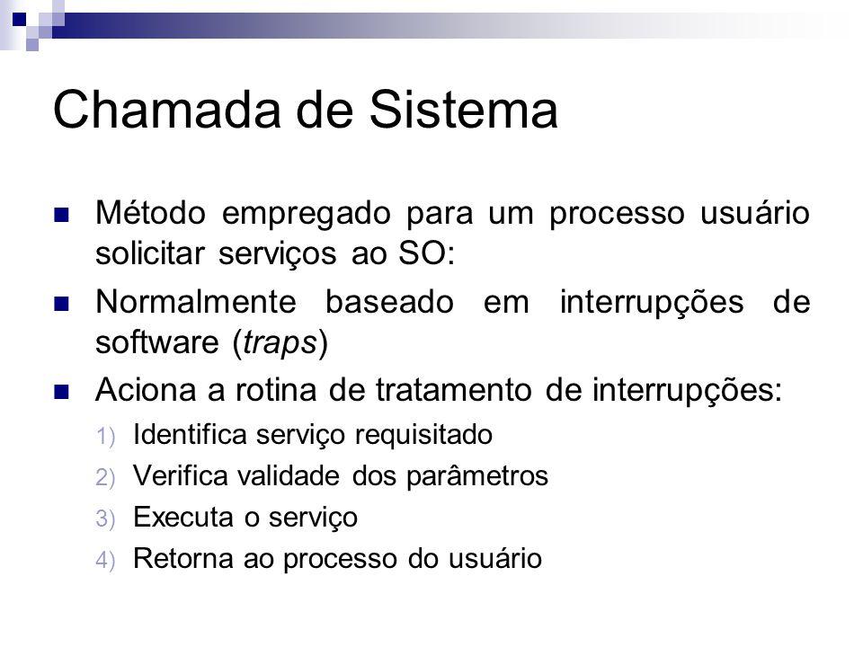 Chamada de Sistema Método empregado para um processo usuário solicitar serviços ao SO: Normalmente baseado em interrupções de software (traps)