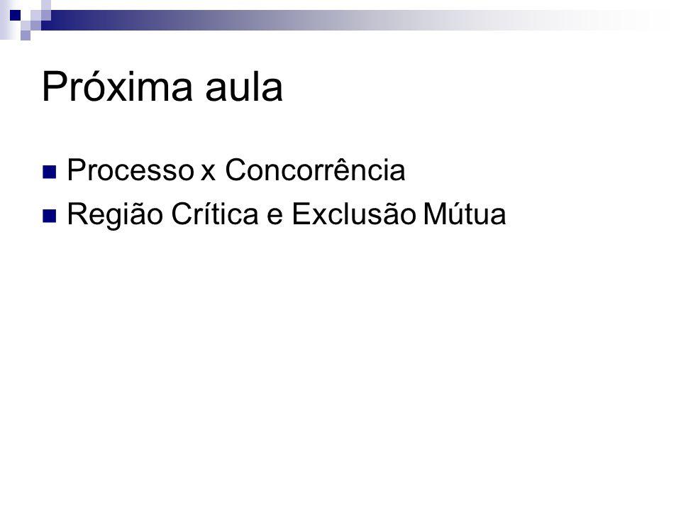 Próxima aula Processo x Concorrência Região Crítica e Exclusão Mútua