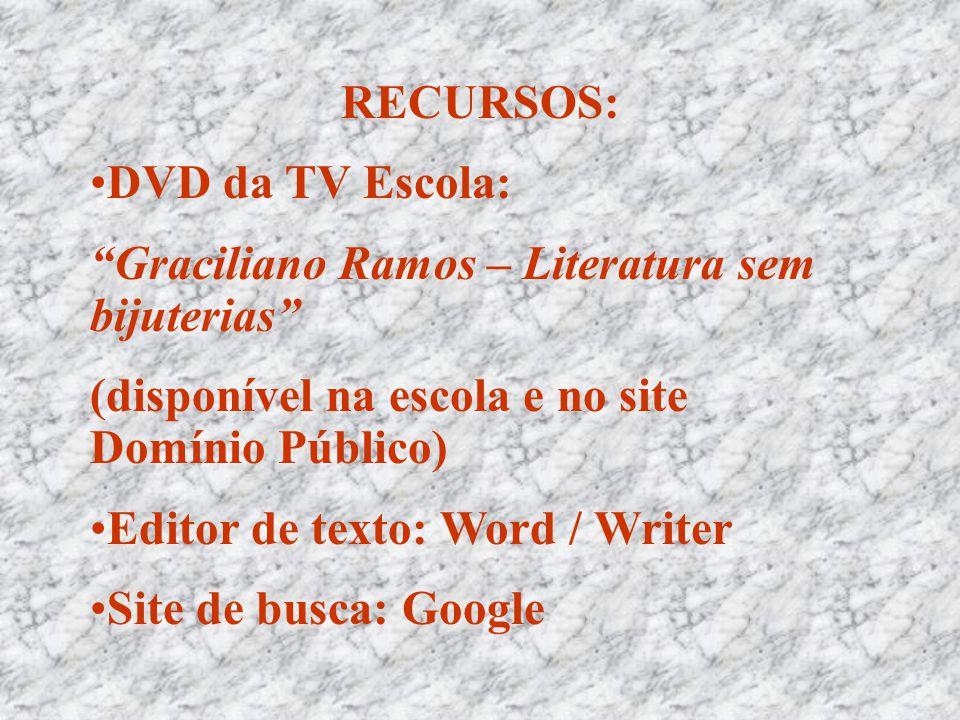RECURSOS: DVD da TV Escola: Graciliano Ramos – Literatura sem bijuterias (disponível na escola e no site Domínio Público)