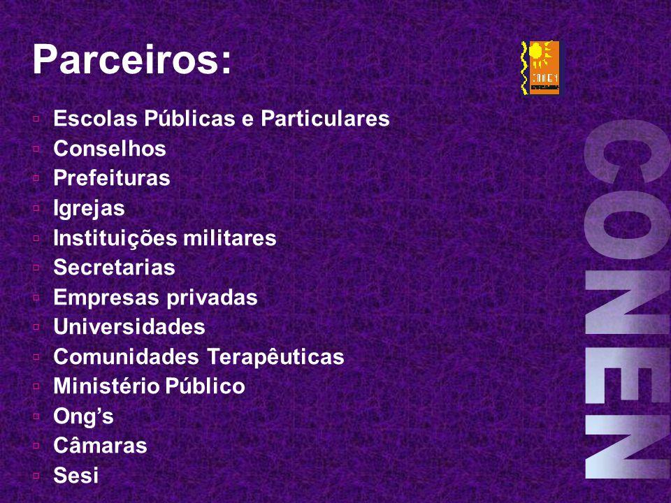 Parceiros: CONEN Escolas Públicas e Particulares Conselhos Prefeituras