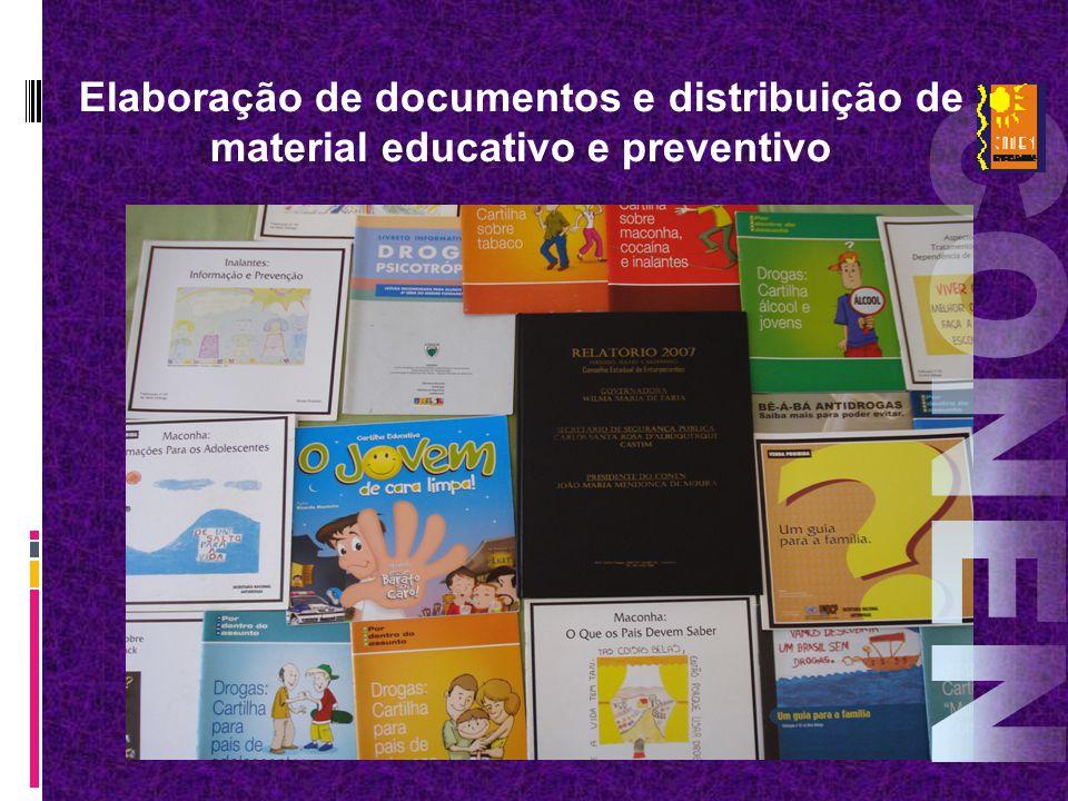 Elaboração de documentos e distribuição de material educativo e preventivo
