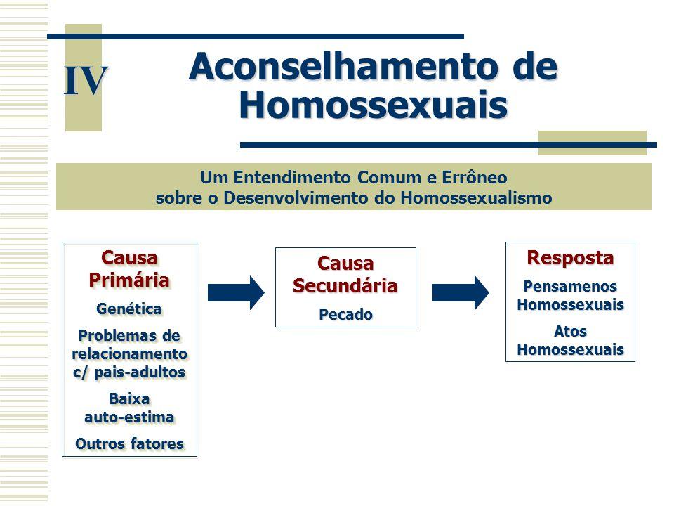 IV Aconselhamento de Homossexuais Causa Primária Resposta