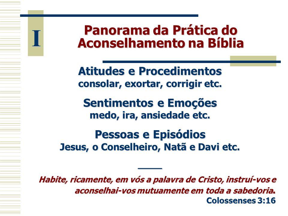 I Panorama da Prática do Aconselhamento na Bíblia