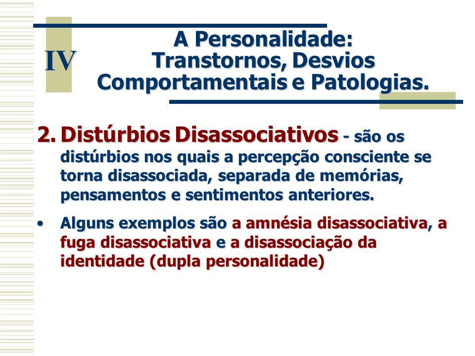 A Personalidade: Transtornos, Desvios Comportamentais e Patologias.