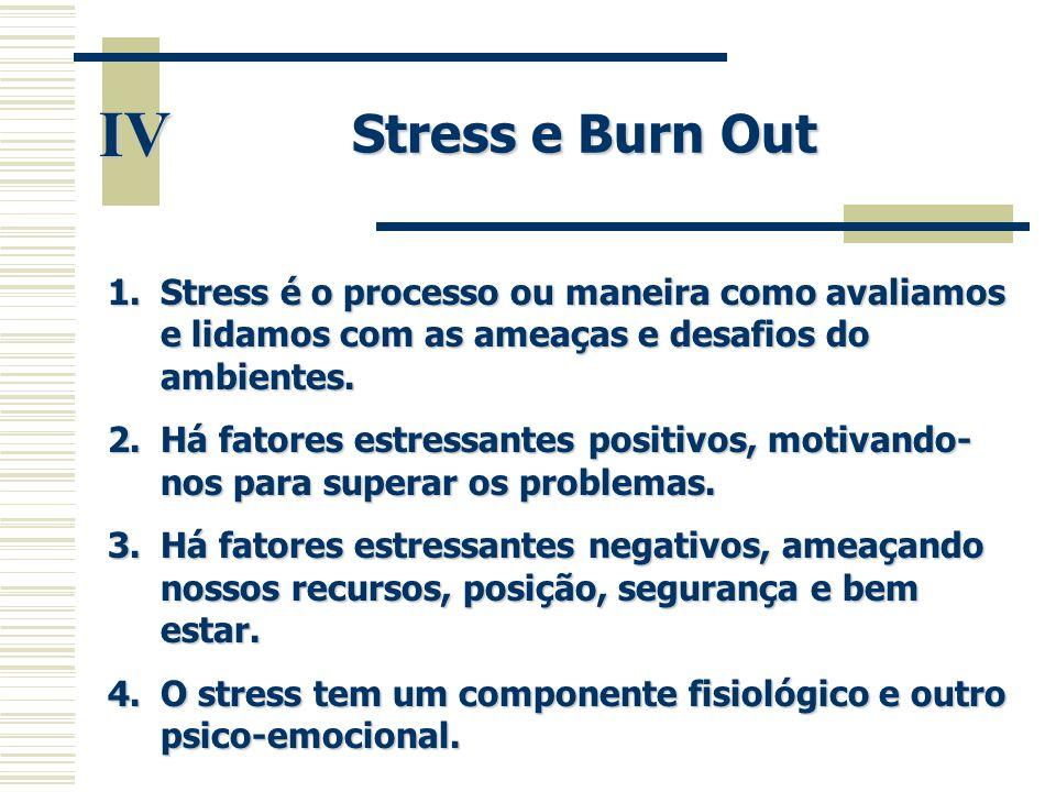 Stress e Burn Out IV. Stress é o processo ou maneira como avaliamos e lidamos com as ameaças e desafios do ambientes.