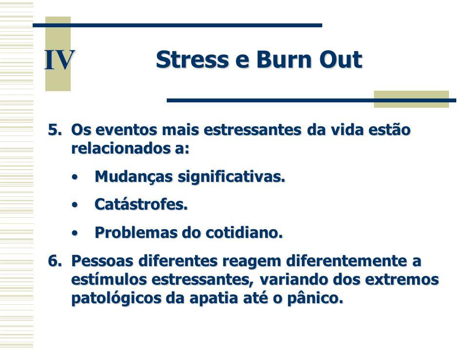 Stress e Burn Out IV. Os eventos mais estressantes da vida estão relacionados a: Mudanças significativas.
