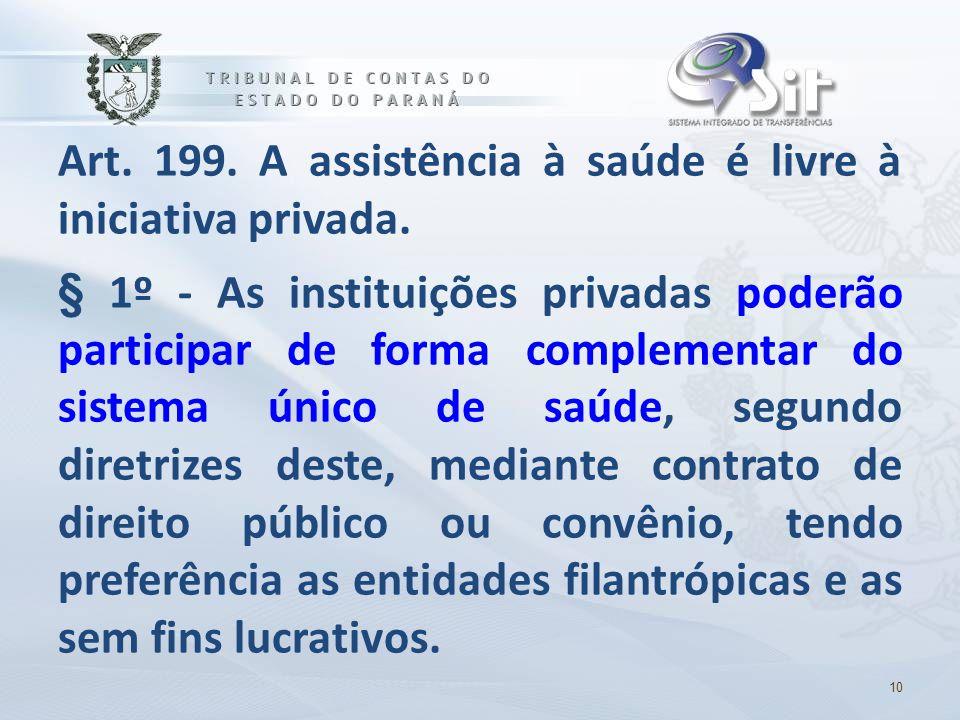 Art. 199. A assistência à saúde é livre à iniciativa privada.