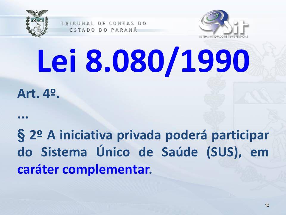 Lei 8.080/1990 Art. 4º. ... § 2º A iniciativa privada poderá participar do Sistema Único de Saúde (SUS), em caráter complementar.