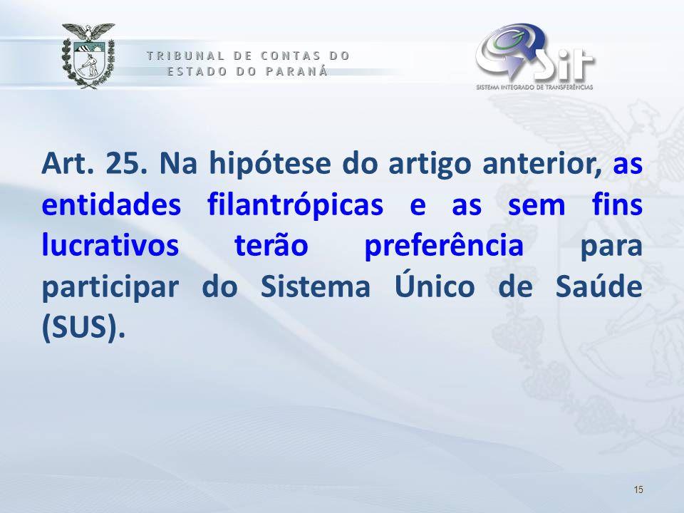 Art. 25. Na hipótese do artigo anterior, as entidades filantrópicas e as sem fins lucrativos terão preferência para participar do Sistema Único de Saúde (SUS).