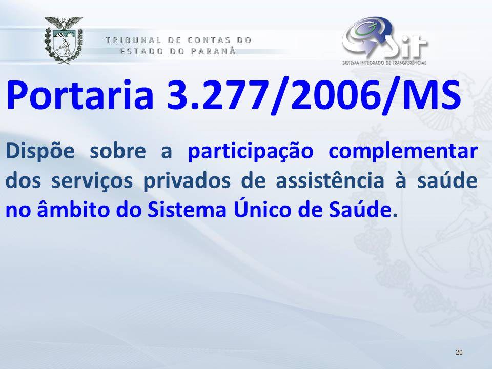 Portaria 3.277/2006/MS Dispõe sobre a participação complementar dos serviços privados de assistência à saúde no âmbito do Sistema Único de Saúde.