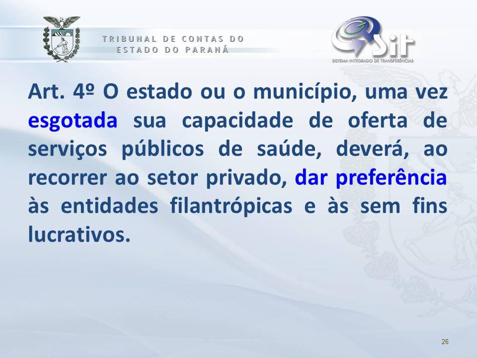 Art. 4º O estado ou o município, uma vez esgotada sua capacidade de oferta de serviços públicos de saúde, deverá, ao recorrer ao setor privado, dar preferência às entidades filantrópicas e às sem fins lucrativos.