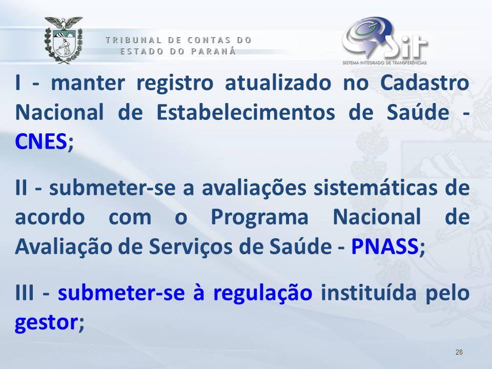 I - manter registro atualizado no Cadastro Nacional de Estabelecimentos de Saúde - CNES; II - submeter-se a avaliações sistemáticas de acordo com o Programa Nacional de Avaliação de Serviços de Saúde - PNASS; III - submeter-se à regulação instituída pelo gestor;