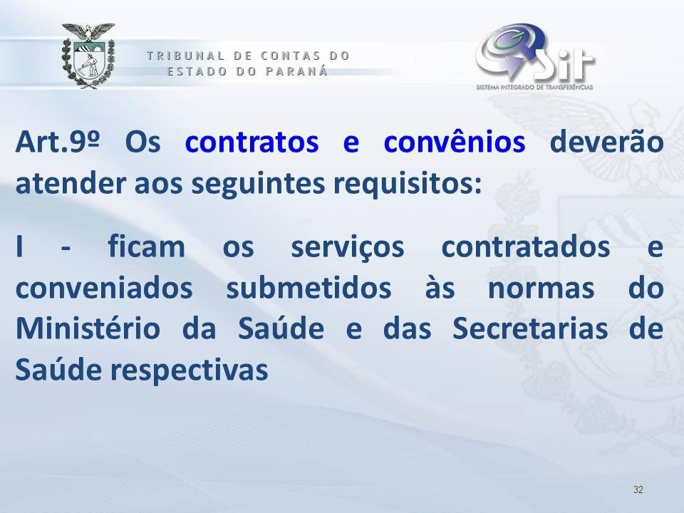 Art.9º Os contratos e convênios deverão atender aos seguintes requisitos:
