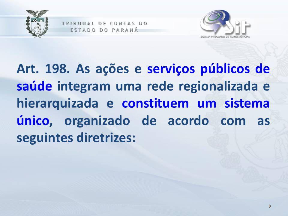 Art. 198. As ações e serviços públicos de saúde integram uma rede regionalizada e hierarquizada e constituem um sistema único, organizado de acordo com as seguintes diretrizes: