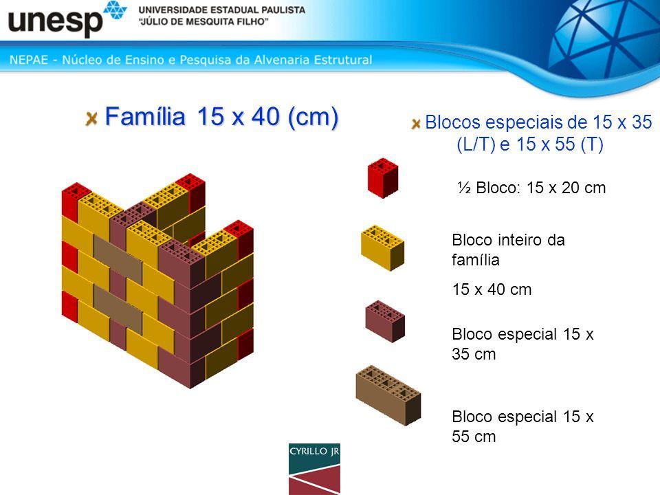 Blocos especiais de 15 x 35 (L/T) e 15 x 55 (T)