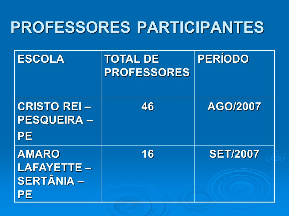 PROFESSORES PARTICIPANTES