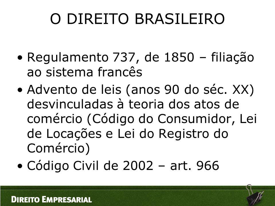 O DIREITO BRASILEIRO Regulamento 737, de 1850 – filiação ao sistema francês.