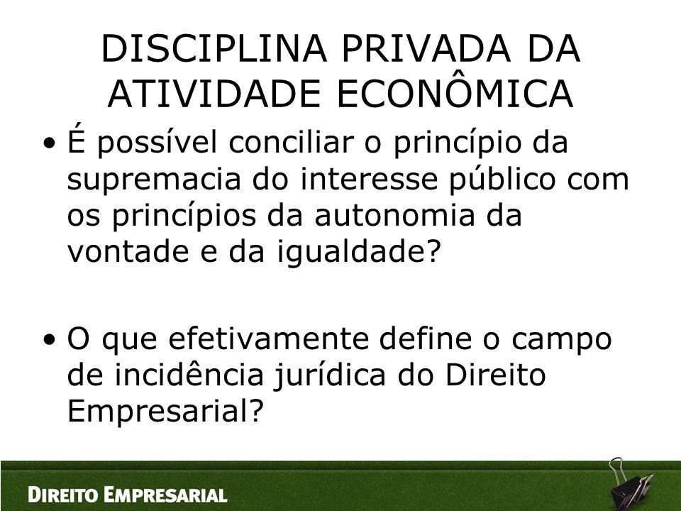 DISCIPLINA PRIVADA DA ATIVIDADE ECONÔMICA