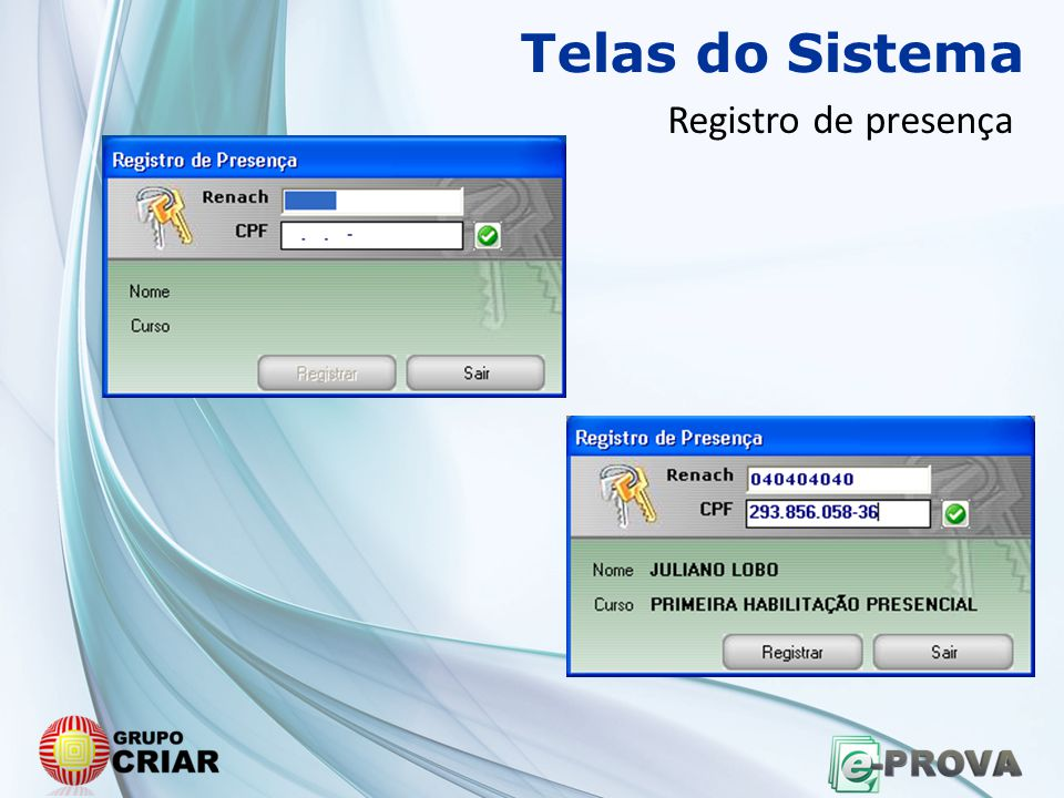 Telas do Sistema Registro de presença