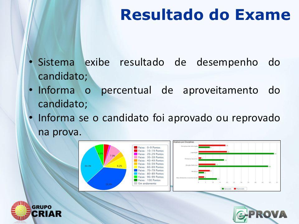 Resultado do Exame Sistema exibe resultado de desempenho do candidato;