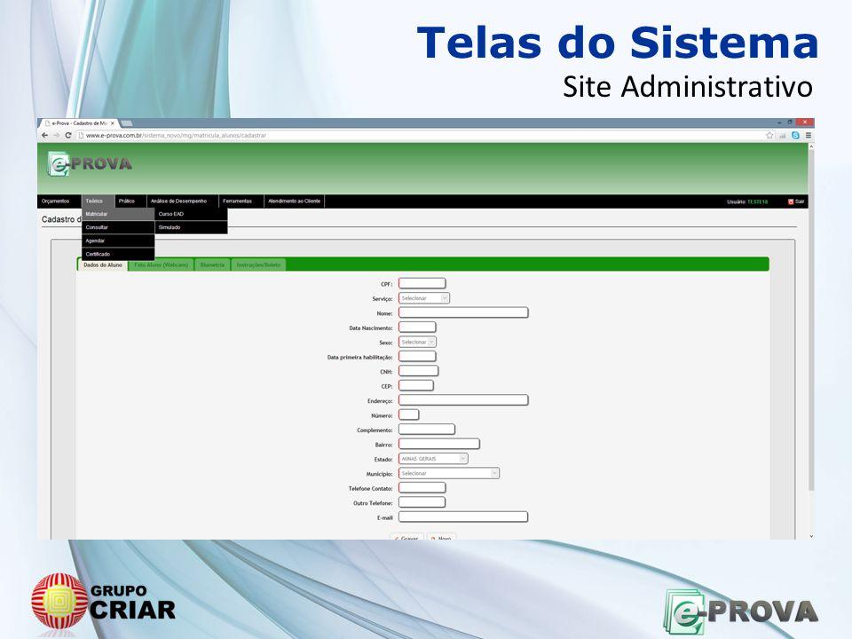 Telas do Sistema Site Administrativo