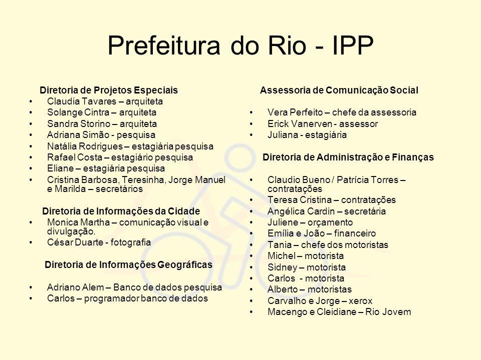 Prefeitura do Rio - IPP Diretoria de Projetos Especiais