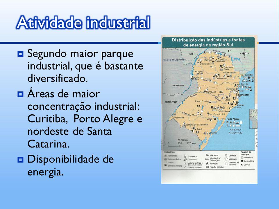 Atividade industrial Segundo maior parque industrial, que é bastante diversificado.