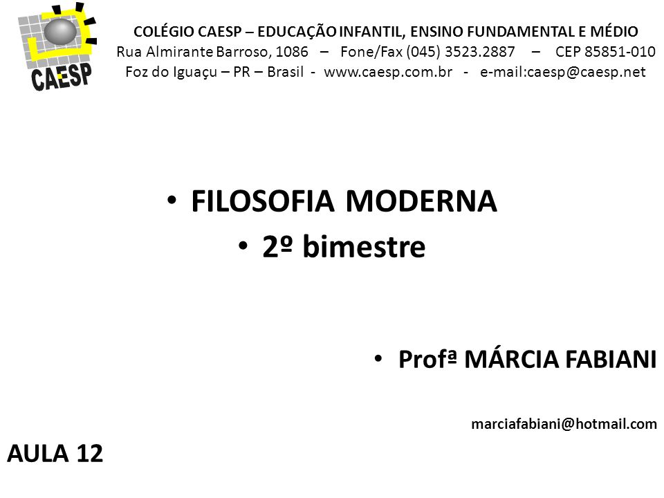 FILOSOFIA MODERNA 2º bimestre