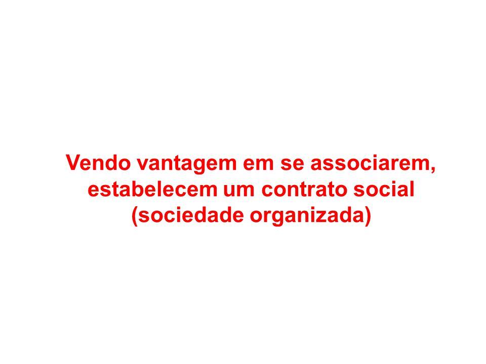 Vendo vantagem em se associarem, estabelecem um contrato social (sociedade organizada)