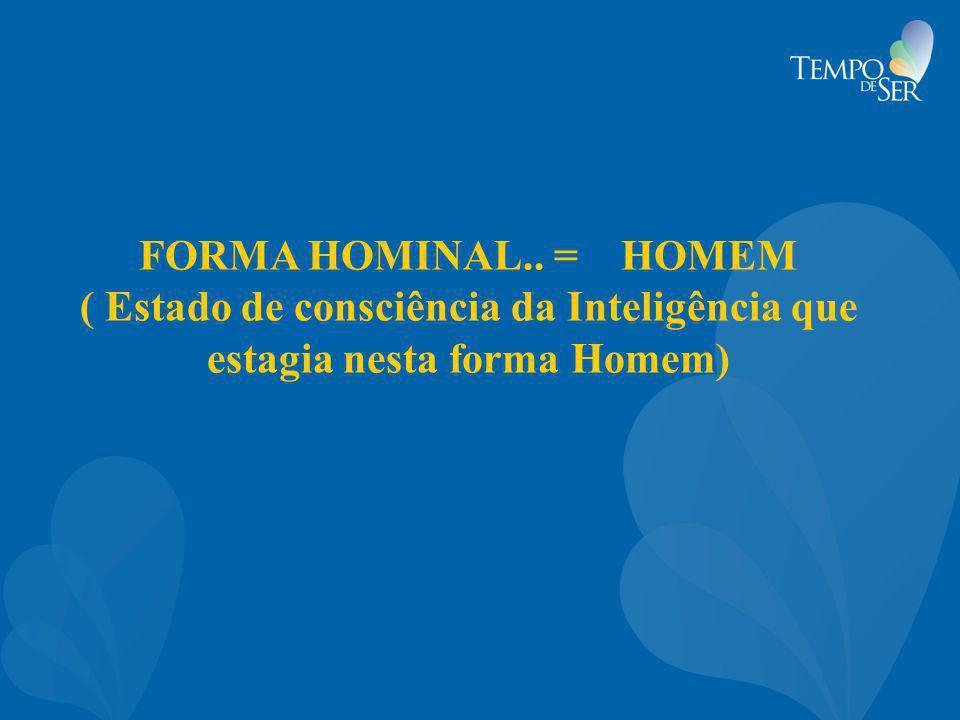 FORMA HOMINAL.. = HOMEM ( Estado de consciência da Inteligência que estagia nesta forma Homem)