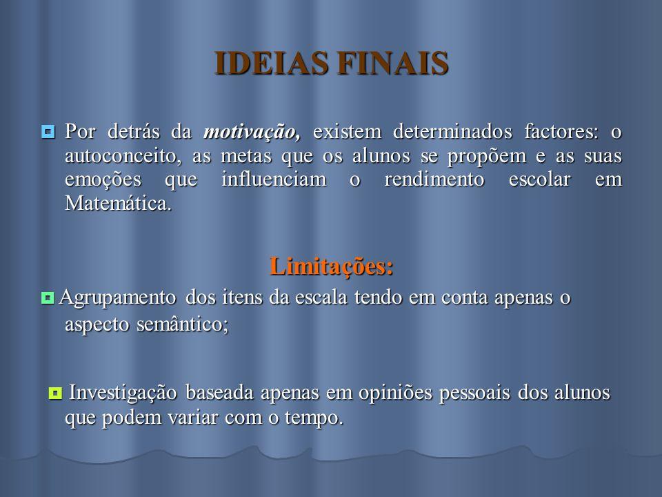 IDEIAS FINAIS Limitações: