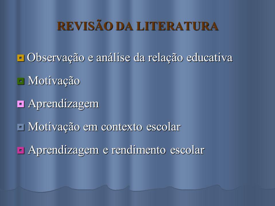 REVISÃO DA LITERATURA  Observação e análise da relação educativa