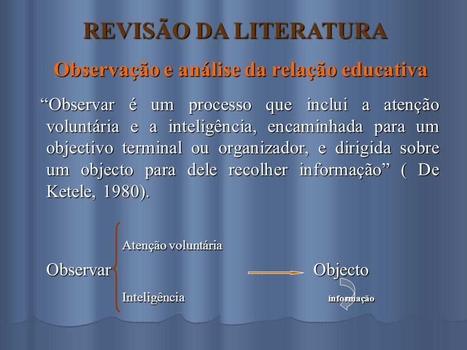 Observação e análise da relação educativa
