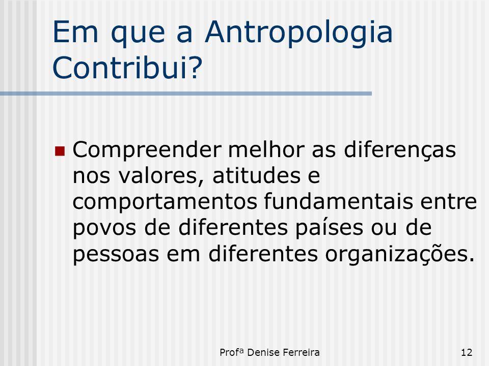 Em que a Antropologia Contribui