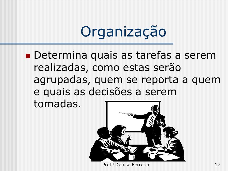 Organização Determina quais as tarefas a serem realizadas, como estas serão agrupadas, quem se reporta a quem e quais as decisões a serem tomadas.