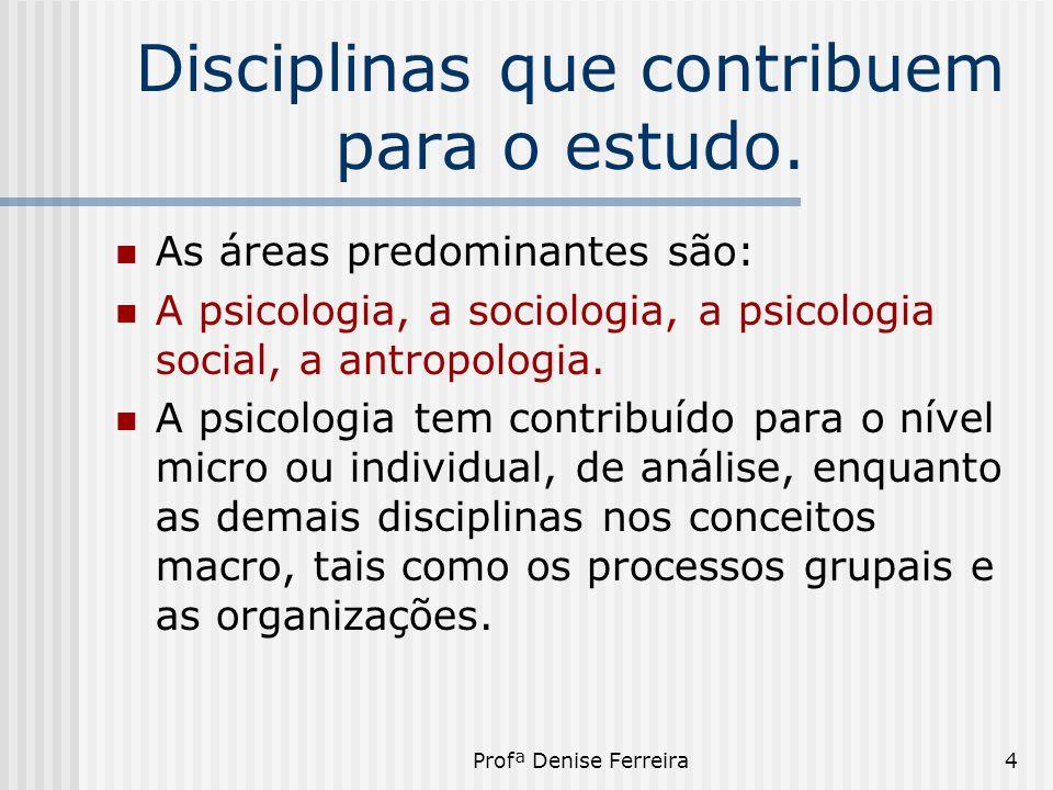 Disciplinas que contribuem para o estudo.