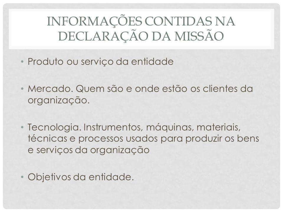 Informações contidas na declaração da missão