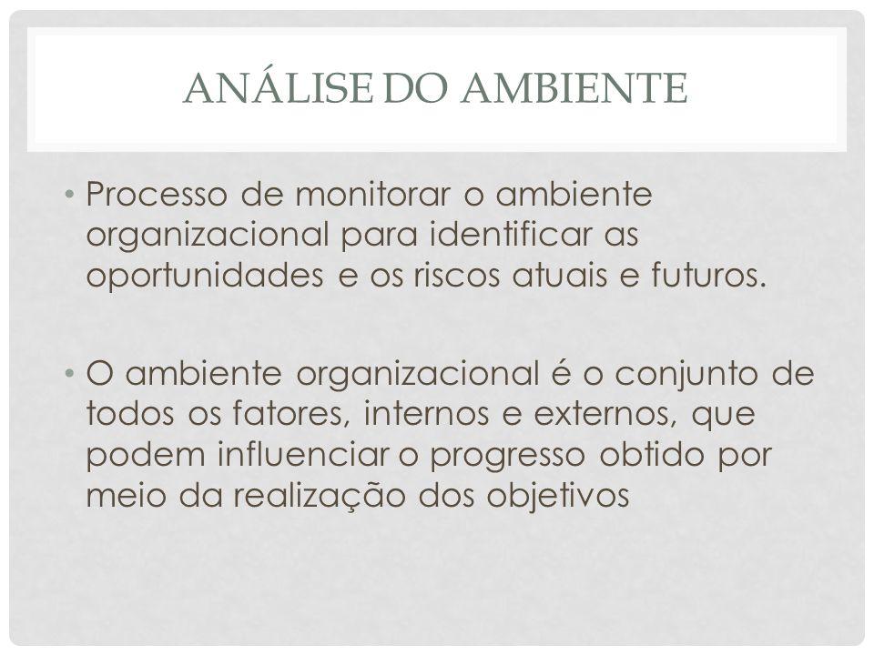 Análise do Ambiente Processo de monitorar o ambiente organizacional para identificar as oportunidades e os riscos atuais e futuros.