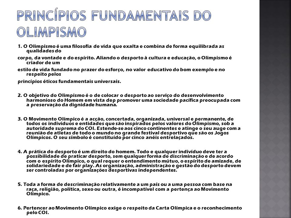 Princípios Fundamentais do Olimpismo