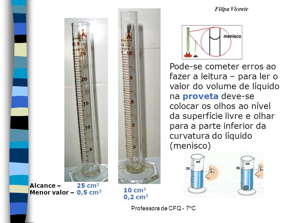 Pode-se cometer erros ao fazer a leitura – para ler o valor do volume de líquido na proveta deve-se colocar os olhos ao nível da superfície livre e olhar para a parte inferior da curvatura do líquido (menisco)